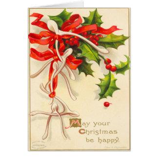 Carte de Noël victorienne d'os de souhait