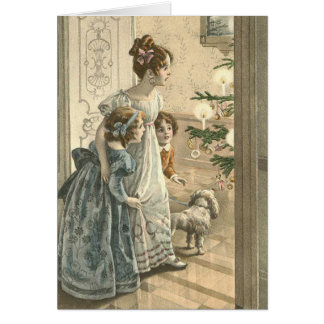 Carte de Noël victorienne - famille