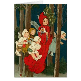Carte de Noël vintage d'anges de Noël