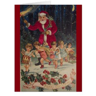 Carte de Noël vintage d'anges du père noël et