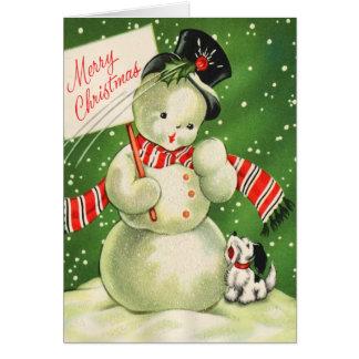Carte de Noël vintage de bonhomme de neige
