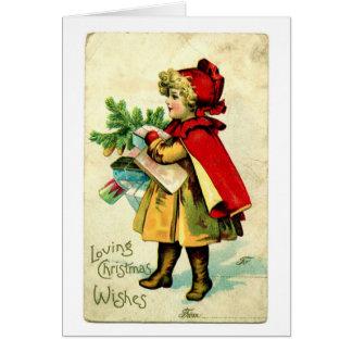 Carte de Noël vintage de capuchon rouge de Lil