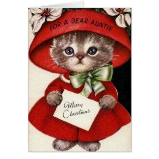 Carte de Noël vintage de chat pour la tante