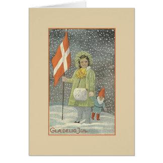 Carte de Noël vintage de Glædelig juillet du