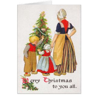Carte de Noël vintage de la Hollande