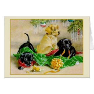Carte de Noël vintage de noir et de golden