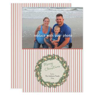 Carte de Noël vintage de photo de famille de Carton D'invitation 12,7 Cm X 17,78 Cm