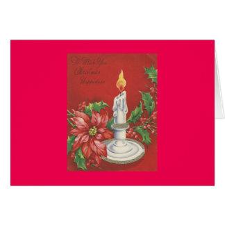 Carte de Noël vintage de poinsettia
