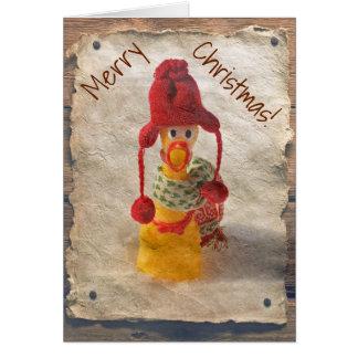 Carte de Noël vintage de poulet de style !