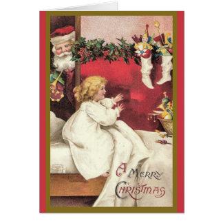 Carte de Noël vintage de surprise de Père Noël