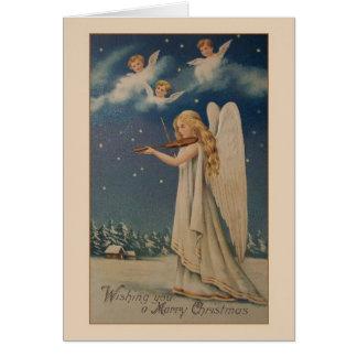 Carte de Noël vintage de violoniste d'ange
