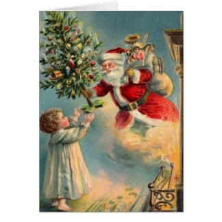 Carte de Noël vintage du père noël