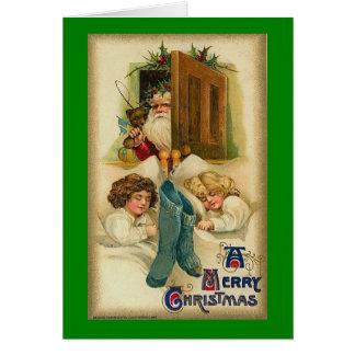 Carte de Noël vintage, le père noël, sommeil