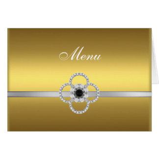 Carte de note argentée de menu de bijou de noir de