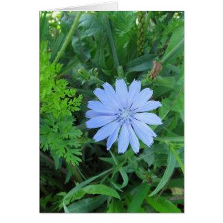 Carte de note bleue de fleur sauvage