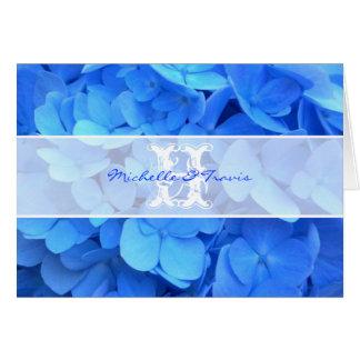 Carte de note bleue de Merci d'hortensia de
