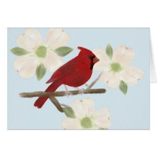 Carte de note d'aquarelle de cardinal et de