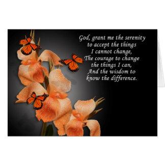 Carte de note de blanc de prière de sérénité