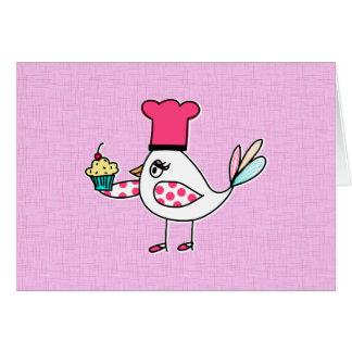 Carte de note de chef de pâtisserie d'oiseau