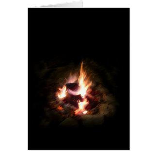 Carte de note de feu de camp de vacances
