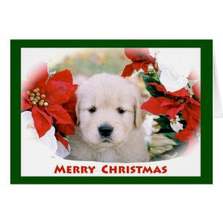 Carte de note de golden retriever de Joyeux Noël
