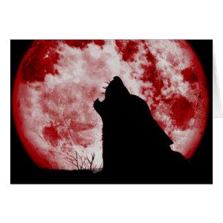 Carte de note de loup de lune de sang