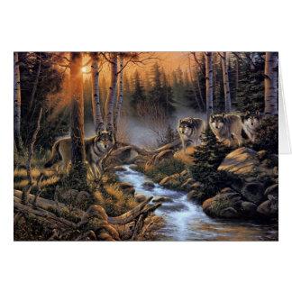 Carte de note de loups de forêt