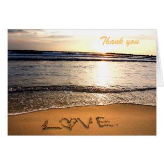 Carte de note de Merci de mariage de plage