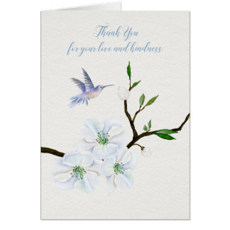Carte de note de Merci de sympathie de colibri