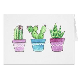 Carte de note de Succulents d'aquarelle