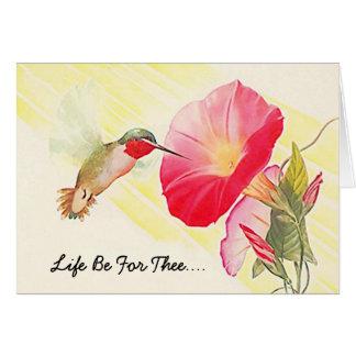 Carte de note douce du jour d'été de colibri et de