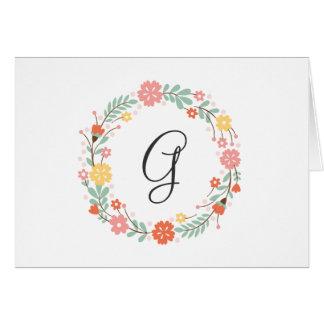 Carte de note florale de monogramme