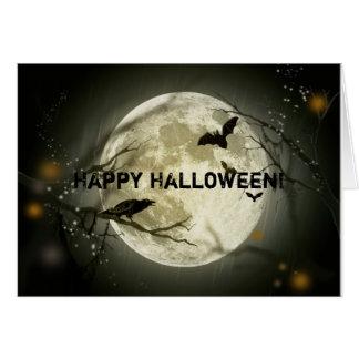 Carte de note heureuse de lune de Halloween