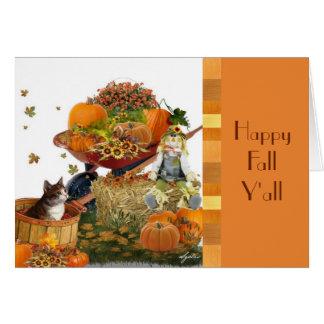 Carte de note mignonne de récolte d'automne carte