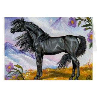 Carte de note NOIRE SAUVAGE de cheval d'ÉTALON