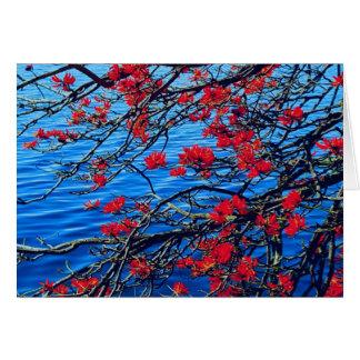 Carte de note rouge de fleur