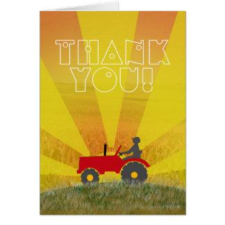 Carte de note rouge ou verte de Merci de tracteur