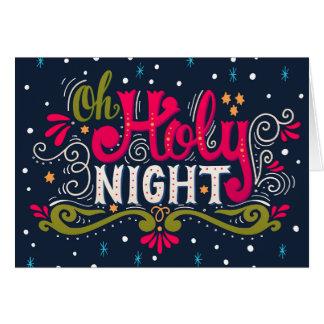 Carte de note sainte de Noël de nuit