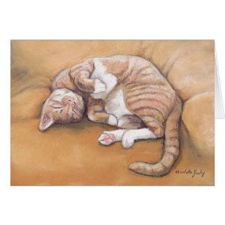 Carte de note somnolente d'art de chat de Kitty