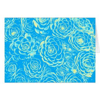Carte de note succulente bleue et jaune