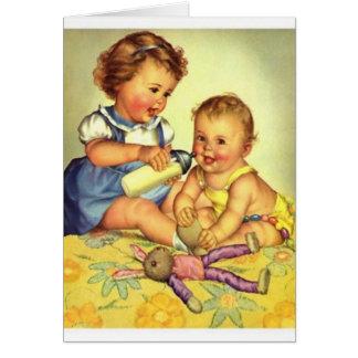Carte de note vintage de soeur de bébé de grande