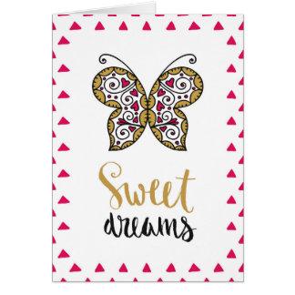 Carte de papillon de rêves doux