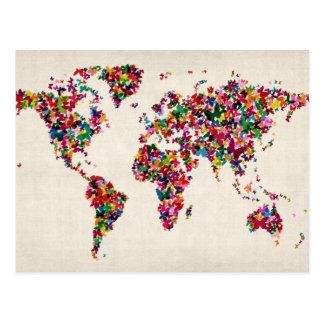 Carte de papillons de la carte du monde carte postale