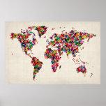 Carte de papillons de la carte du monde posters