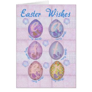 Carte de Pâques avec des oeufs et des fleurs
