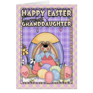 Carte de Pâques d'arrière-petite-fille - lapin de