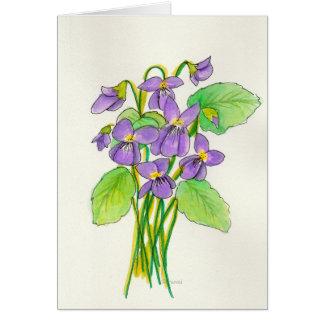 Carte de Pâques de violettes d'aquarelle