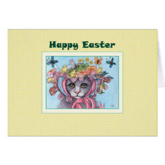 Carte de Pâques heureuse, chat dans un capot de