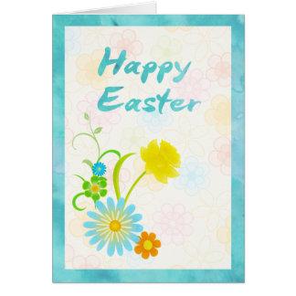 Carte de Pâques heureuse de fleurs bleues et