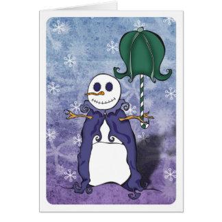 Carte de parapluie de bonhomme de neige